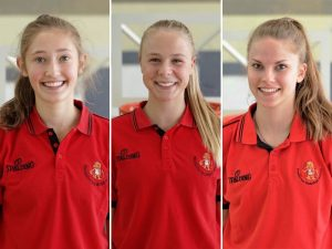 Lisa Bonacker (von links), Luzie Hegele und Lilly Lukow spielen in der Hessenauswahl. Fotos: HBV