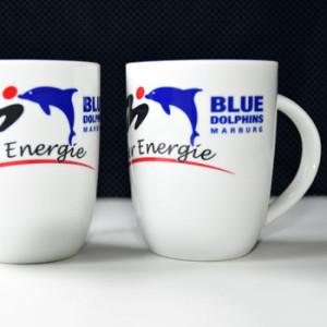 Kaffeebecher mit Blue Dolphins