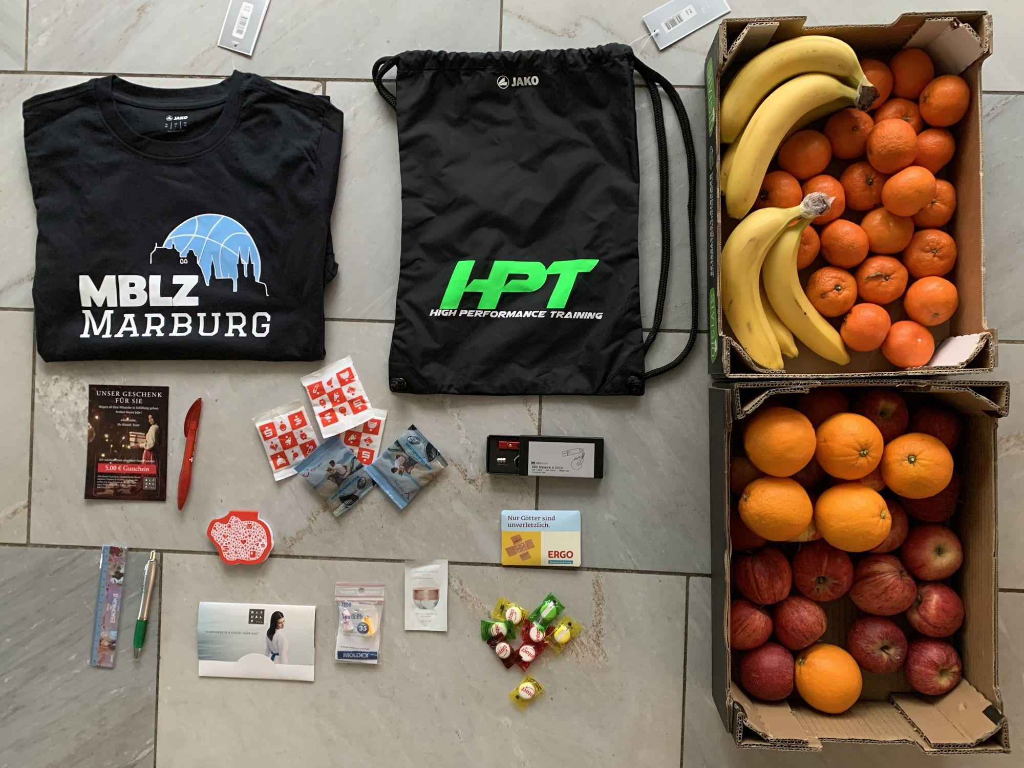 Die Geschenke für die MBLZ-Teilnehmer wurden von mehreren Firmen zur Verfügung gestellt.